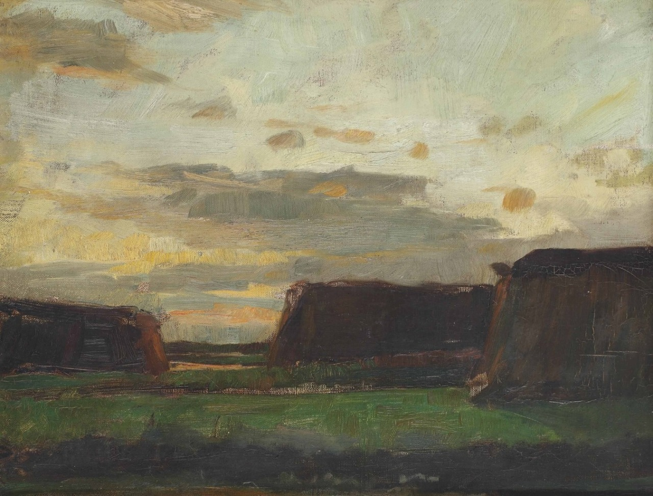 Piet Mondrian (1872-1944) Three haystacks in a field, circa 1907
