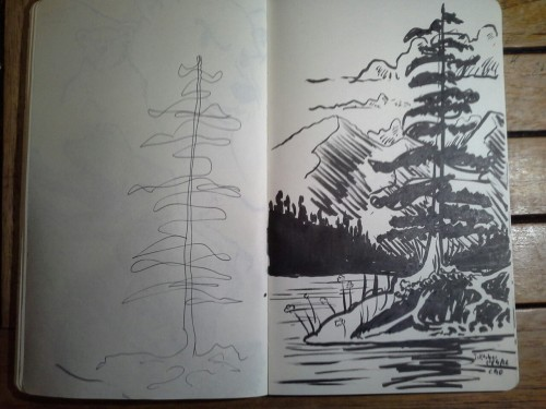 Inktober day 6. Super hurried, as I've had a full day. Fortunately I'd invented my new patented scribble tree technique, illustrated on the left, while doodling during a course from my health provider just an hour before, so I threw together this 2-4...