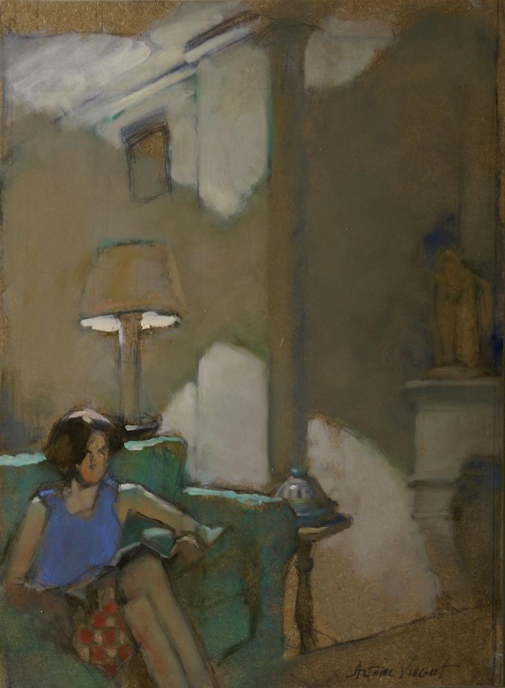 "huariqueje: "" Reading - Antoine Vincent French, b.1956- oil on paper """