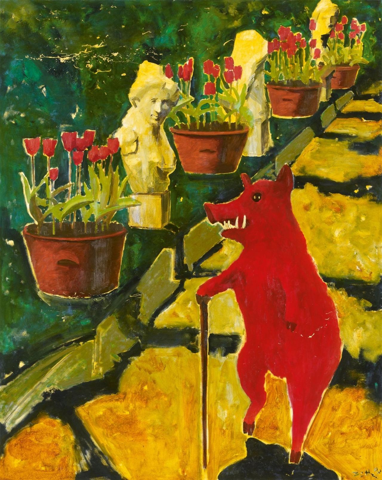 "thunderstruck9:""Werner Büttner (German, b. 1954), Untitled (Bilanzpromenade), 2007. Oil on canvas, 150 x 120 cm."""