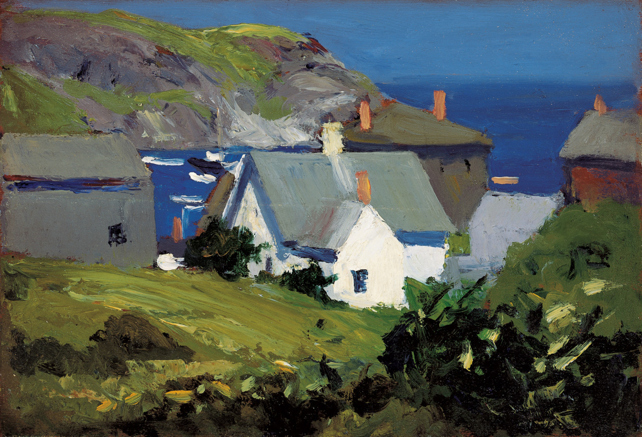 "dappledwithshadow: "" Monhegan Houses, Maine Edward Hopper c.1916 Oil on panel """