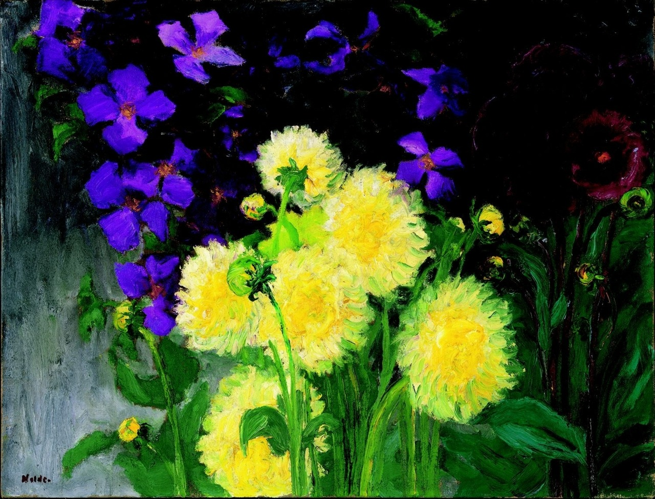 """amare-habeo: """" Emil Nolde (German-Danish, 1867 - 1956) Clematis and dahlias, 1935 Oil on canvas Galerie Thomas, München, Germany """""""