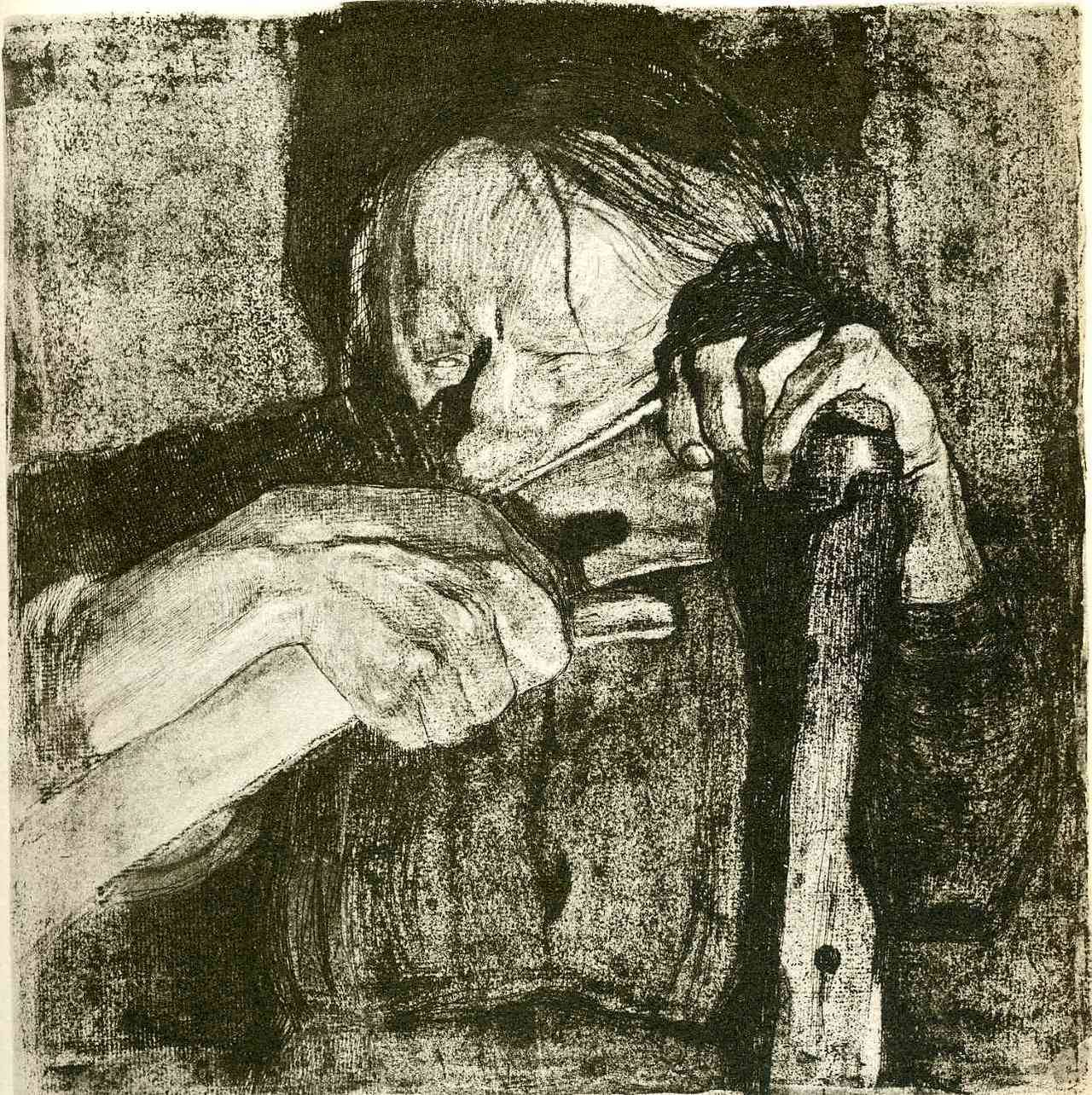 Kathe Kollwitz: Whetting the Scythe (1921) drypoint and aquatint, Whitworth Art Gallery, The University of Manchester, UK