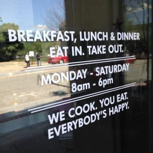 The door text welcoming guests