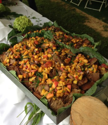 bourbon braised brisket with peach salsa served at the Penland Auctions