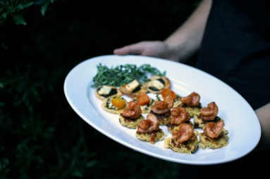 Picture of BBQ Shrimp on Corn Cakes by 67 Biltmore Downtown Eatery and Catering in Asheville, NC