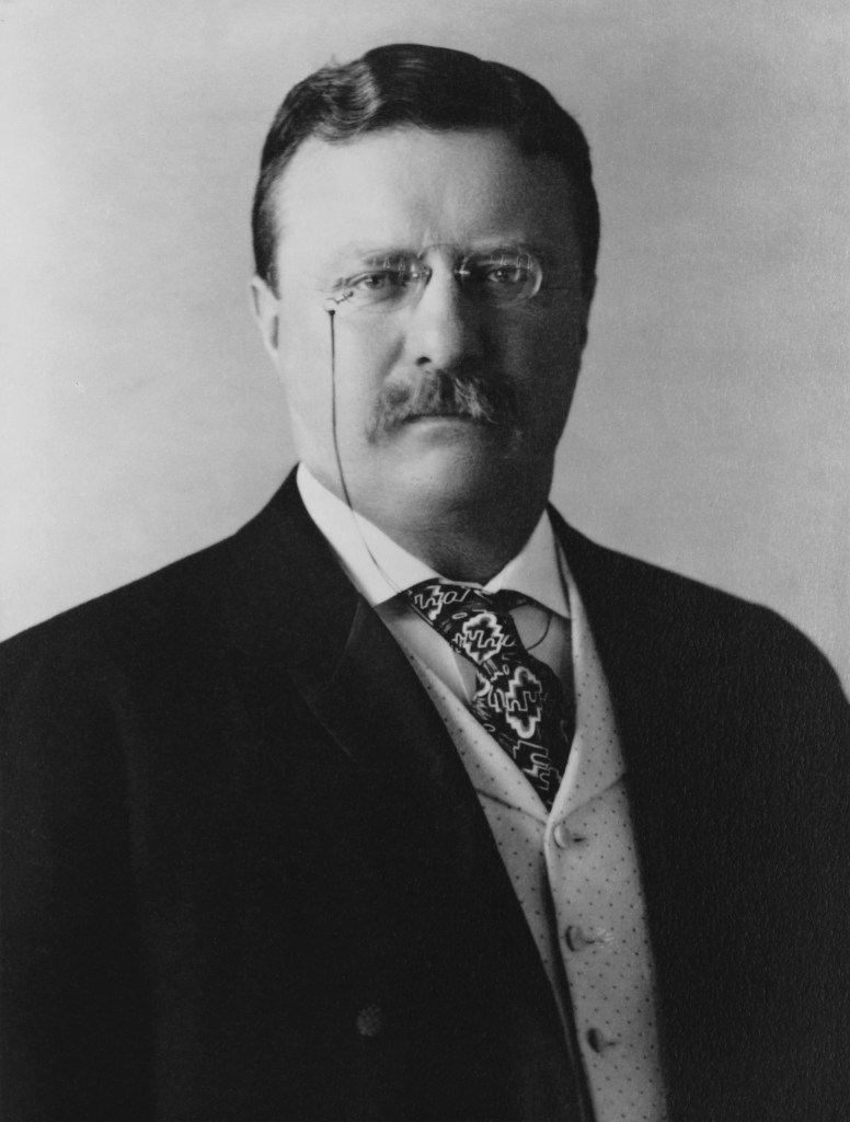 President of the United States Theodore Roosevelt, head-and-shoulders portrait, facing front.