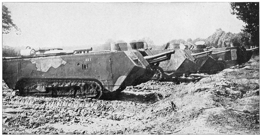 "French St. Chamond tanks. The caption reads, ""French tanks of the newer type."""