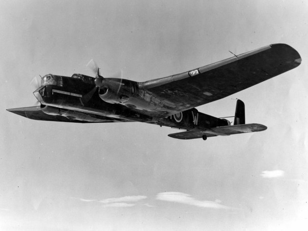 An in-flight view of Whitley Mk V T4131, EY-W from No 78 RAF