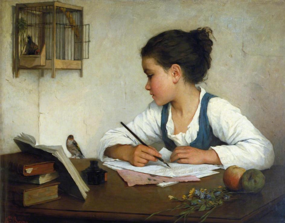 Henriette Browne (French, 1829 - 1901): A Girl Writing