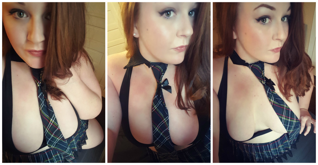 SexySteph1988 in the cutest little checked tie