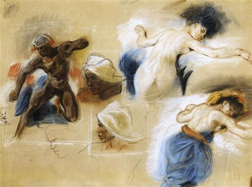 "impressionsonmymind: "" Eugene Delacroix, Sketch for The Death of Sardanapalus, 1827, pastel """