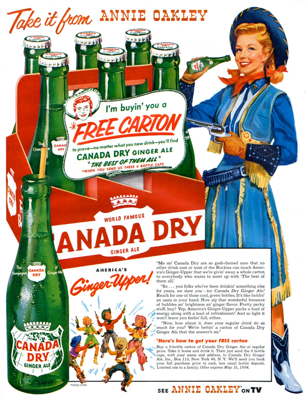 Canada Dry Ginger Ale featuring Gail Davis as Annie Oakley - 1954