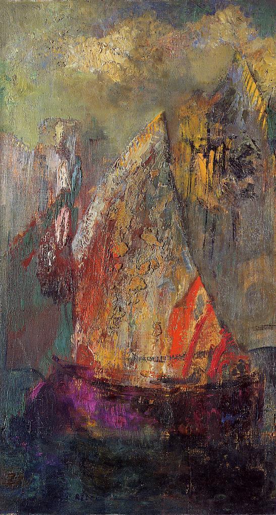 "artist-redon: "" A boat via Odilon Redon Medium: oil on panel"""