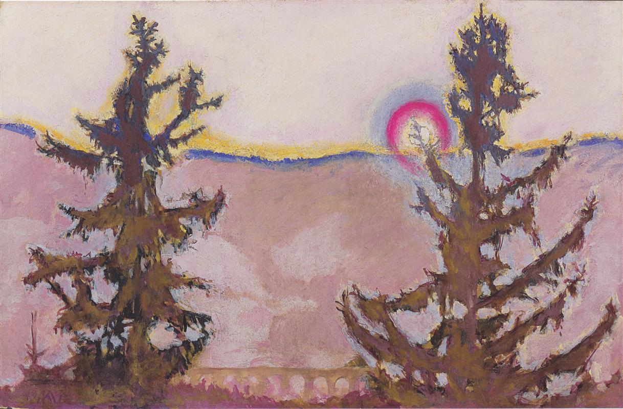 """wetreesinart: """"Koloman Moser (Austrian, 1866-1918), Landscape in Semmering, 1913, 45.4 x 70.2 cm """""""