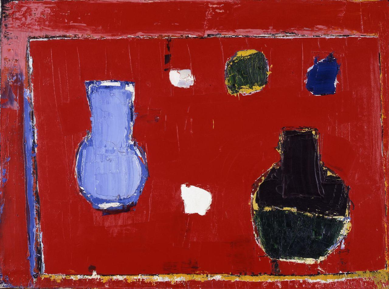 """lawrenceleemagnuson: """"Nicolas de Staël Nature morte à la table rouge (1953) oil on canvas 60 × 81 cm """""""
