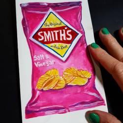 Making a silly birthday card for salt vinegar chip fiends. #art #artshow #exhibition #doodles #drawing #pencildrawing #drawdrawdraw #illustration #perthcreatives #perthartist #gouachepainting #salt&vinegarchips #smithschips #birthdayfeels #artsy #perthpop #perthstagram #doodle #foody #painting #smithscrisps #whimsical