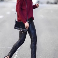 sweater x leather pants