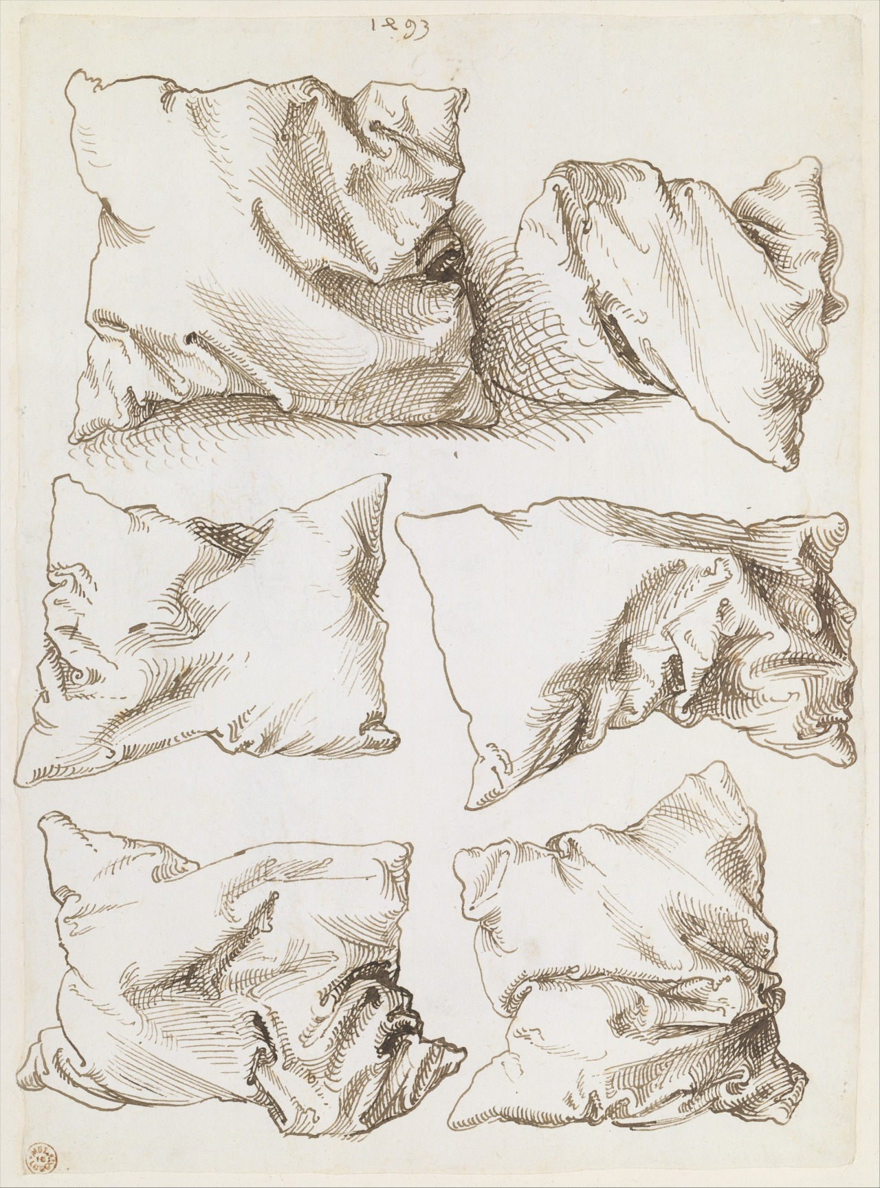 Albrecht Dürer, six pillows (verso), pen and brown ink, 1493. The Metropolitan Museum of Art.