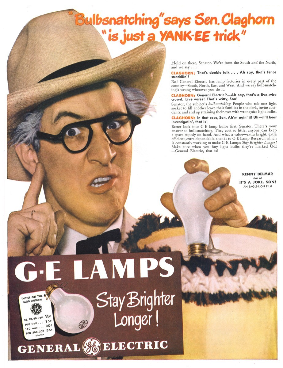 General Electric Lamps featuring Kenny Delmar - published in Life - April 14, 1947