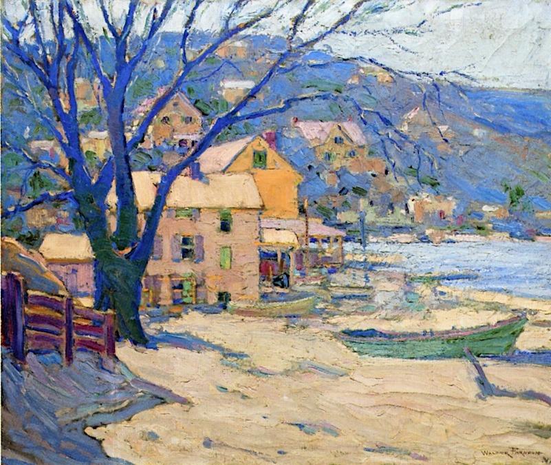 "lawrenceleemagnuson:"" Walter Farndon (USA 1876-1964)Little Neck Bay (n.d.)oil on canvas 76.2 x 91.44 cm"""