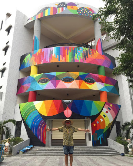 "widewalls-artmagazine:   ""3rd eye dog"" by Okuda for The Wallriors in Kaohsiung, Taiwan More about Okuda and his work : http://www.widewalls.ch/artist/okuda/"
