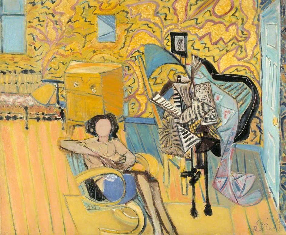 """terminusantequem:""""Ceri Richards (British, 1903-1971), Yellow Interior, 1950. Oil on canvas, 80 x 97 cm"""""""
