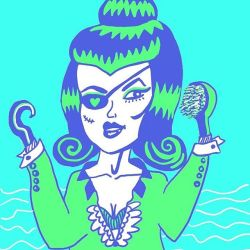 Which hand assessory was she going to use today, hook or hairbrush?! #doodle #drawing #doodlesofinstagram #arty #perthcreatives #perthy #digitalart #illustration #lowbrow