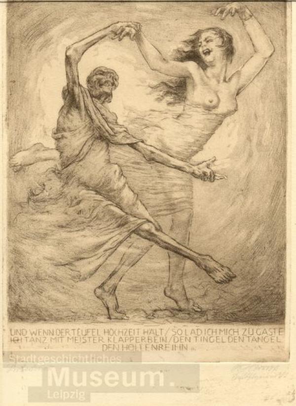 Bruno Héroux, Ein Totentanz. Und wenn der Teufel Hochzeit hält, so lad ich mich zu Gaste, 1939--1943, Stadtgeschichtliches Museum Leipzig