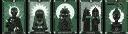 """lovedamadama:  Illustrations réalisées lors dun stage au sein de lagence de communication Rouennaise Arcange. L 'identité graphique d'Arcange a été complètement redéfinie en début d'année 2016 et joue sur une esthétique humoristique néogothique/kitsch/rock. Dans la veine du slogan """"Doux Jésus"""" présent sur leur site, j'ai décliné sous forme de cartes et de fonds d'écran des images stylisées de Saints et de leurs attributs en réutilisant les codes graphiques de leur site internet (ce noir et vert si particulier). On peut trouver larticle sur leur blog (édité par leur CM) ici! Après mon départ, le DA de lagence, en a fait tirer une série de couleurs différentes sur des cartes postales, en modifiant également certaines catchphrases pour un résultat des plus funky."""