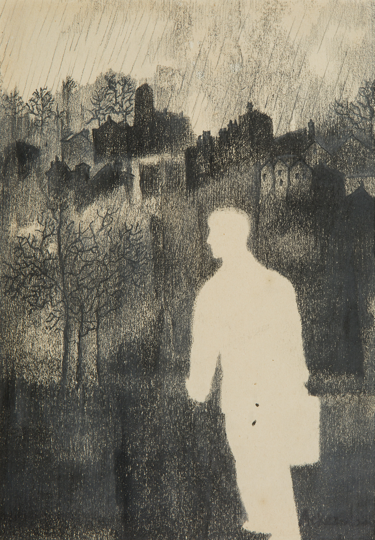 "amare-habeo: "" Paul Ackerman (Romanian-French, 1908-1981) Man in the city, N/D Charcoal on paper, 19.5 x 13.5 cm """