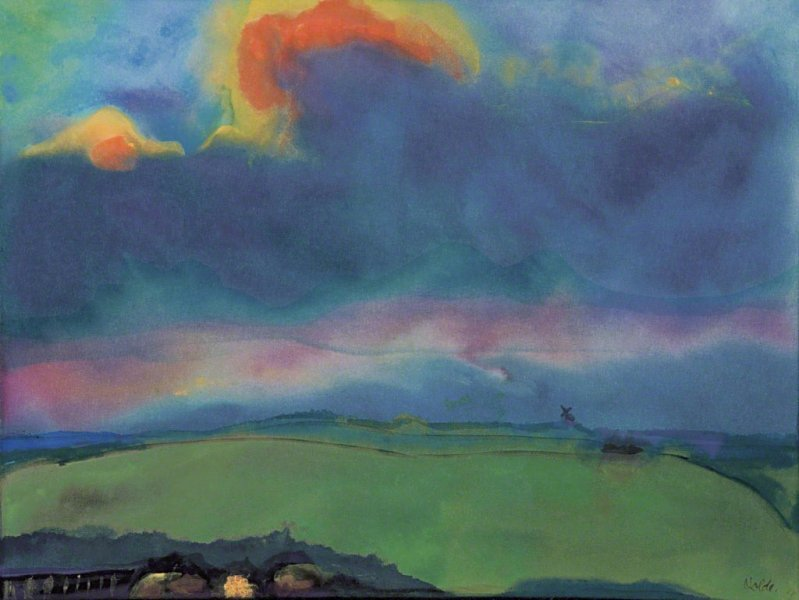 "lilithsplace: ""Evening March landscape, c. 1935 - Emil Nolde (1867–1956) watercolor on japan paper | source: """
