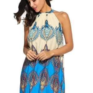 Women's Casual Sleeveless Halter Neck Boho Print Short Dress Sundress. I added a belt to add…, September 13, 2017 at 07:46PM