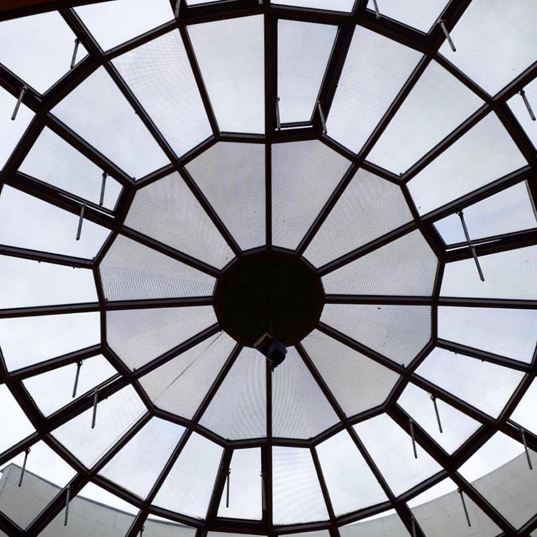 Oldenburg, 2017.#photooftheday #onephotoaday #photography #fujix100t #bwphotography #blackandwhite #blackandwhitephotography #monochrome #architektur #architecture #architekturfotografie #architecturephotography #details #symmetry #structure #struktur #glaskuppel #fenster #spiderweb #spinnennetz (hier: Oldenburg, Germany)