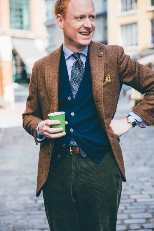 Staff Style. Our Creative Director, MH, grabbing a quick caffeine boost round the corner from No.3 Haberdasher Street. Wearing a few pieces from our AW15 Collection including Tweed Jacket, Slim Fit Essential Shirt, 36oz Foulard Silk Tie, Cashmere...