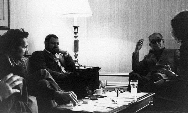 "Jean-Luc Godard, John Milius, and Werner Herzog visiting Akira Kurosawa at the New York's Plaza Hotel in the early 80'.After ""Kagemusha"" won the [Palme d'Or at the 1980] Cannes International Film Festival, until 1982, Kurosawa traveled extensively..."