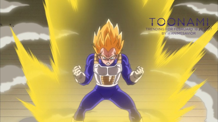 """""What have you done…how could you. What did you do to my BULMAAAAAA! […] Mark my words, Beerus. Mark them well. You're going to suffer for what you've done."" - Vegeta, Dragon Ball Super (Ep. 07) "" The Toonami Trending Rundown for February 18-19,..."