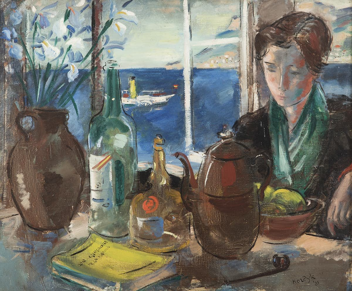 """huariqueje:"""" Sea View with woman at the table - Gerard Hordijk , 1931.Dutch,1899-1958Oi on canvas, 60 x 72,5 cm."""""""