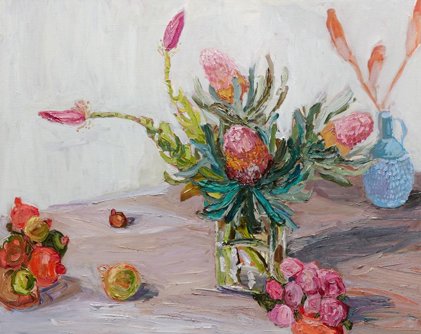 """huariqueje:""""  Banksias and Banana Flowers - Laura JonesAustralian,b.1982-Oil on linen ,122 x 152 cm"""""""