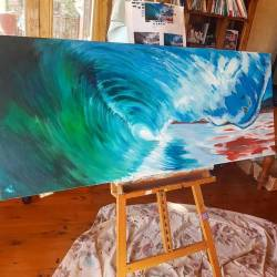Still a bit too do with this, and it seems to be taking me forever! With oils being so different to what I normally use, it is proving to be a big learning curve! But I think I'm getting there!..........#oils #waves #seascape #painting #perthcreatives #perthartist #oceanart #artworks #artsy #paintings #commission #wip #perthart #surfing #greenroom