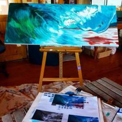 Working on this intermittently, so far so good I think? Acrylic down, will start oil layering soon. #art #artshow #exhibition #oilpainting #surfing #greenroom #painting #perthcreatives #perthartist #illustration #artworks #perthstagram #perthisok #waart #waves #oceanart #seascape #oceanscene #wip #perthartist