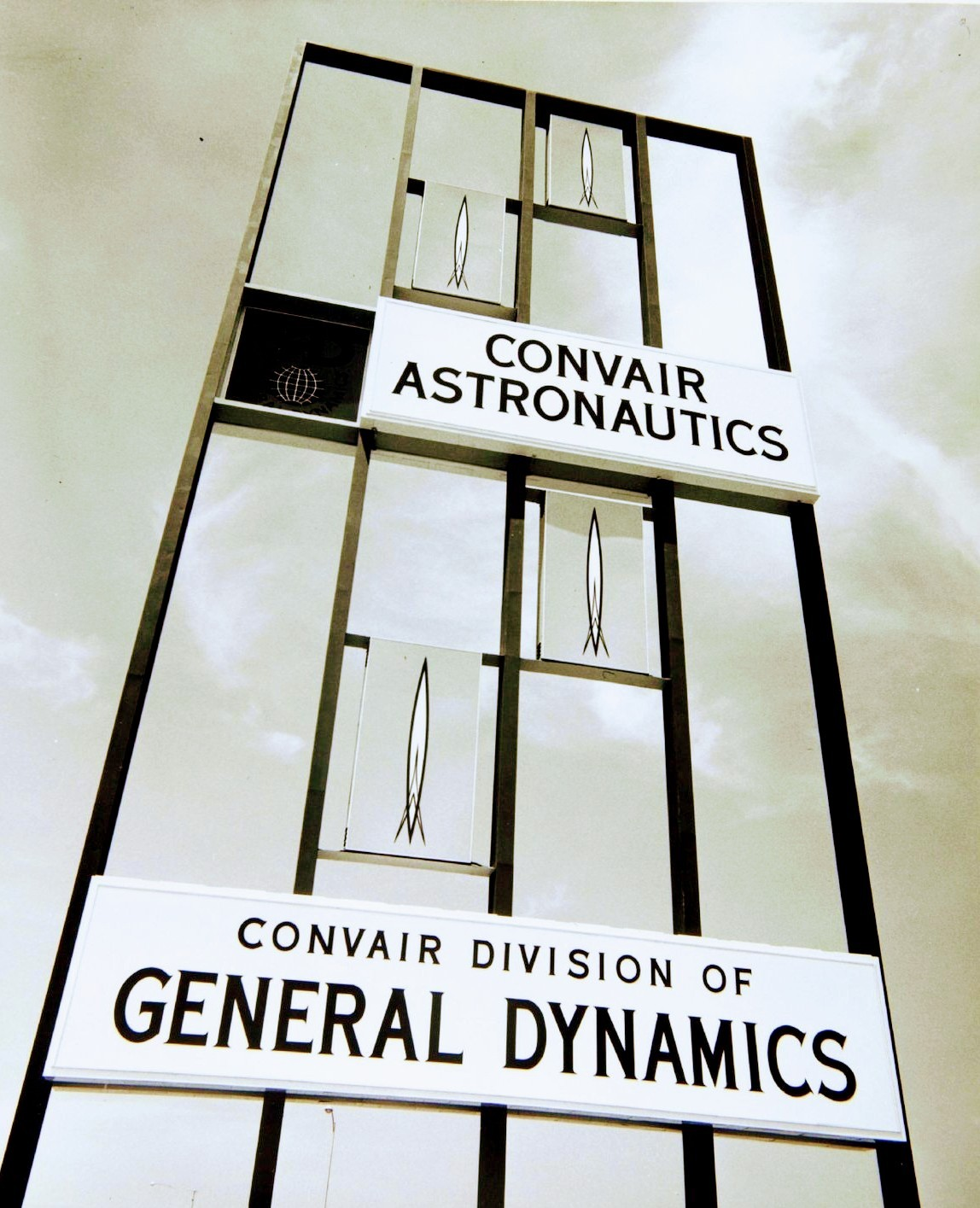 Convair Astronautics/General Dynamics Kearny Mesa Plant entrance sign - San Diego, California U.S.A. - 1958