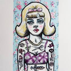 """Gotta say, I think this one came out great! """"Tattooed bra models of the 1950s"""" #art #perthcreatives #perthartist #illustration #artworks #artsy #paintings #whimsical #oldschooltattoo #pencildrawing #inkpen #digitalart #50s #60s #fashionart #models #vogue #lowbrow"""