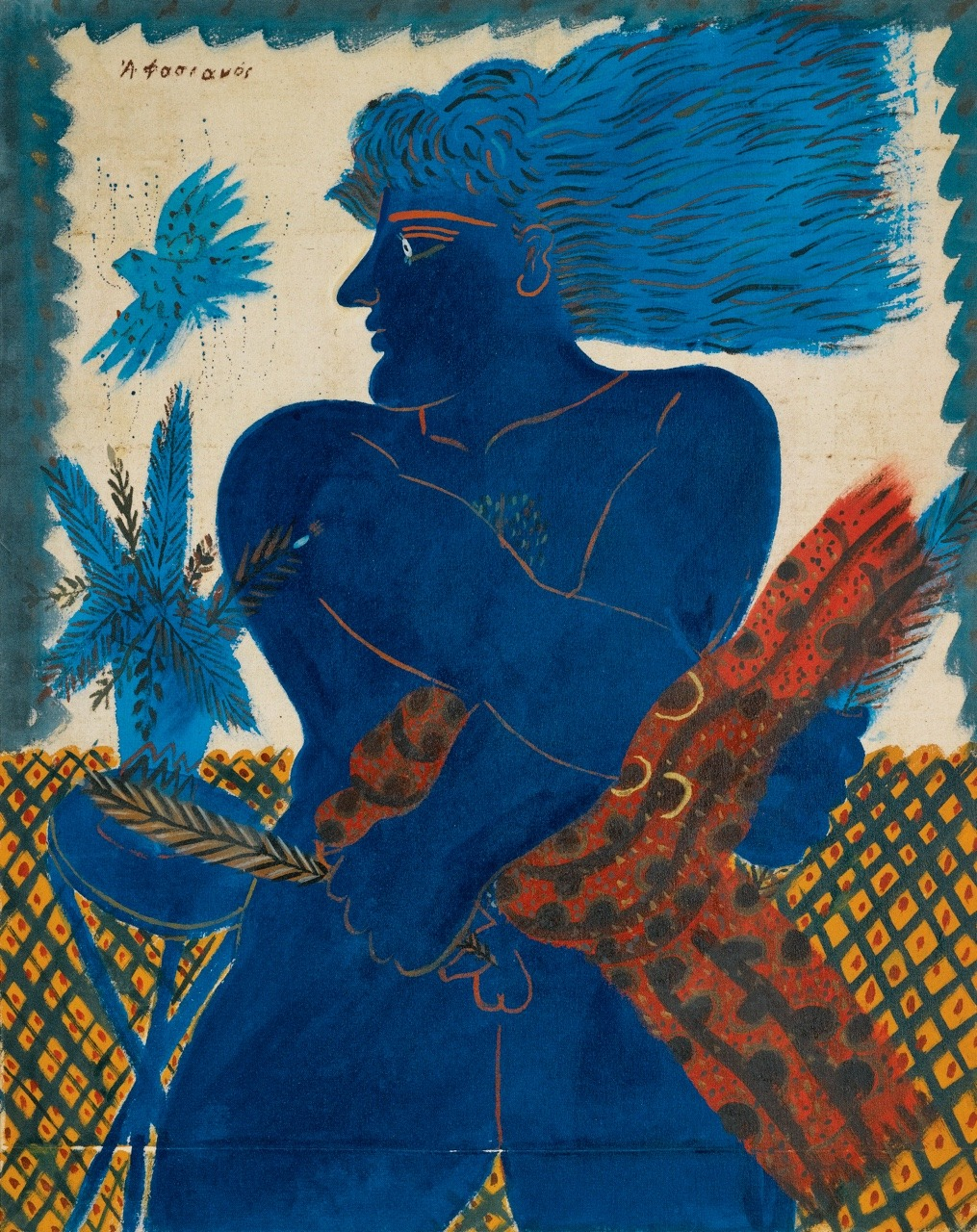 """terminusantequem: """"Alecos Fassianos (Greek, b. 1935), ATHENEAN WITH BLUE BIRD. Acrylic on canvas, 79 by 63cm (31 by 24¾in.) """""""