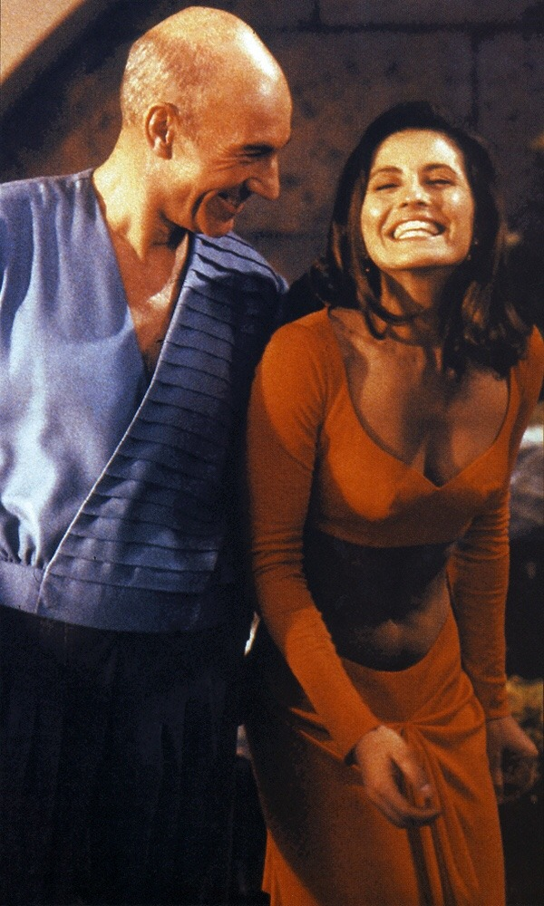 Patrick Stewart and Jennifer Hetrick while filming… – Star Trek