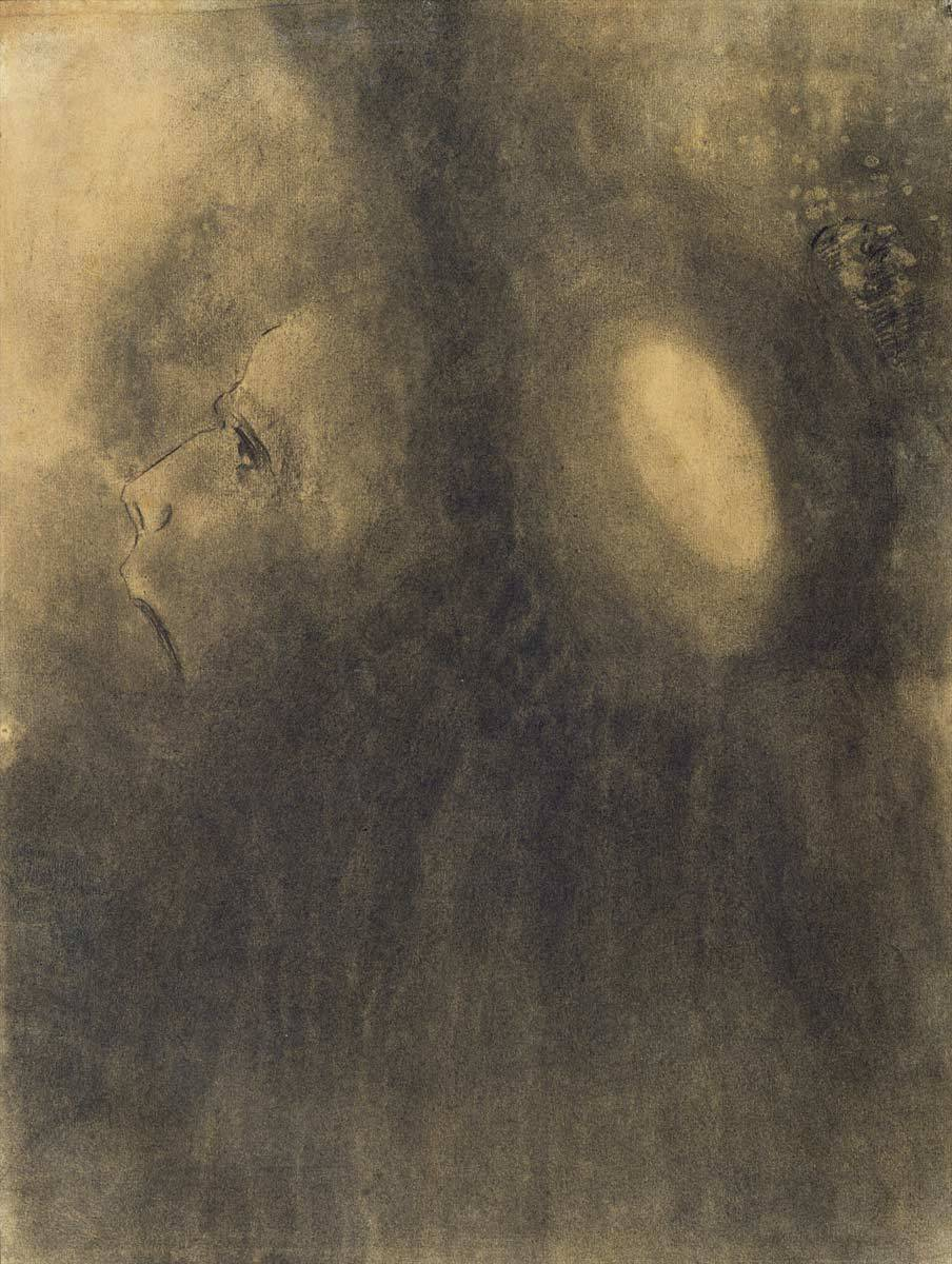 "thunderstruck9: "" Odilon Redon (French, 1840-1916), Ecstasy, 1885. Charcoal on buff paper, 49.5 x 37.5 cm. """