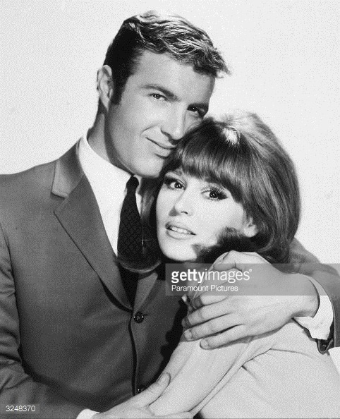 James Caan and Marianna Hill in a publicity still for Red Line 7000 (1965)