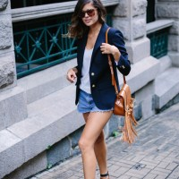 blazer x denim shorts