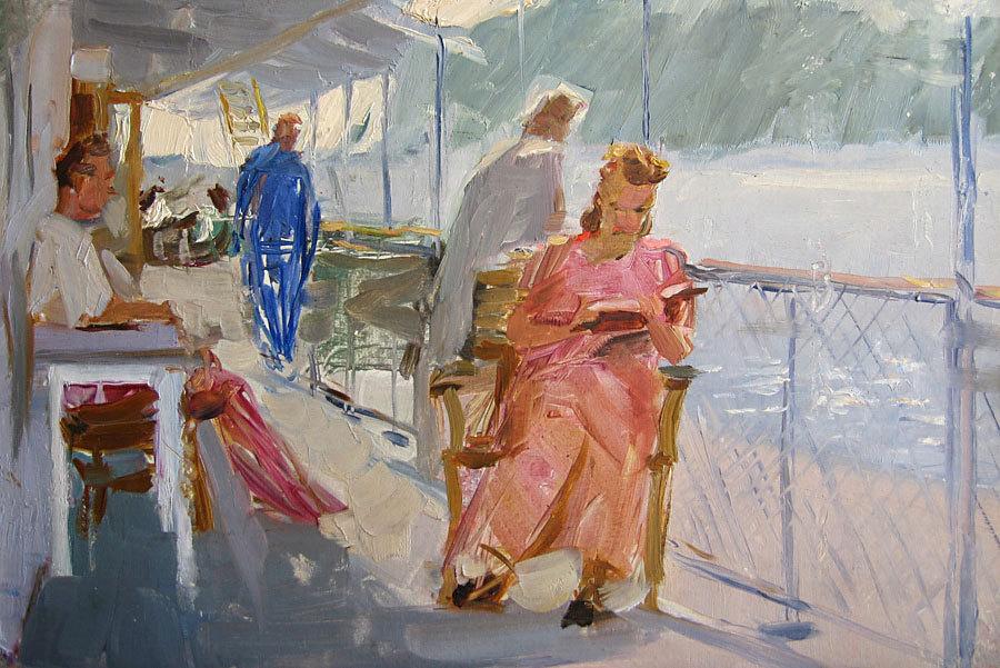 "huariqueje: "" Motor ship on the Kama river - Vasilev Anatoliy Ilich , 1953 Russian, 1917-1994 Oil on canvas, 22,3 х 32,7 """