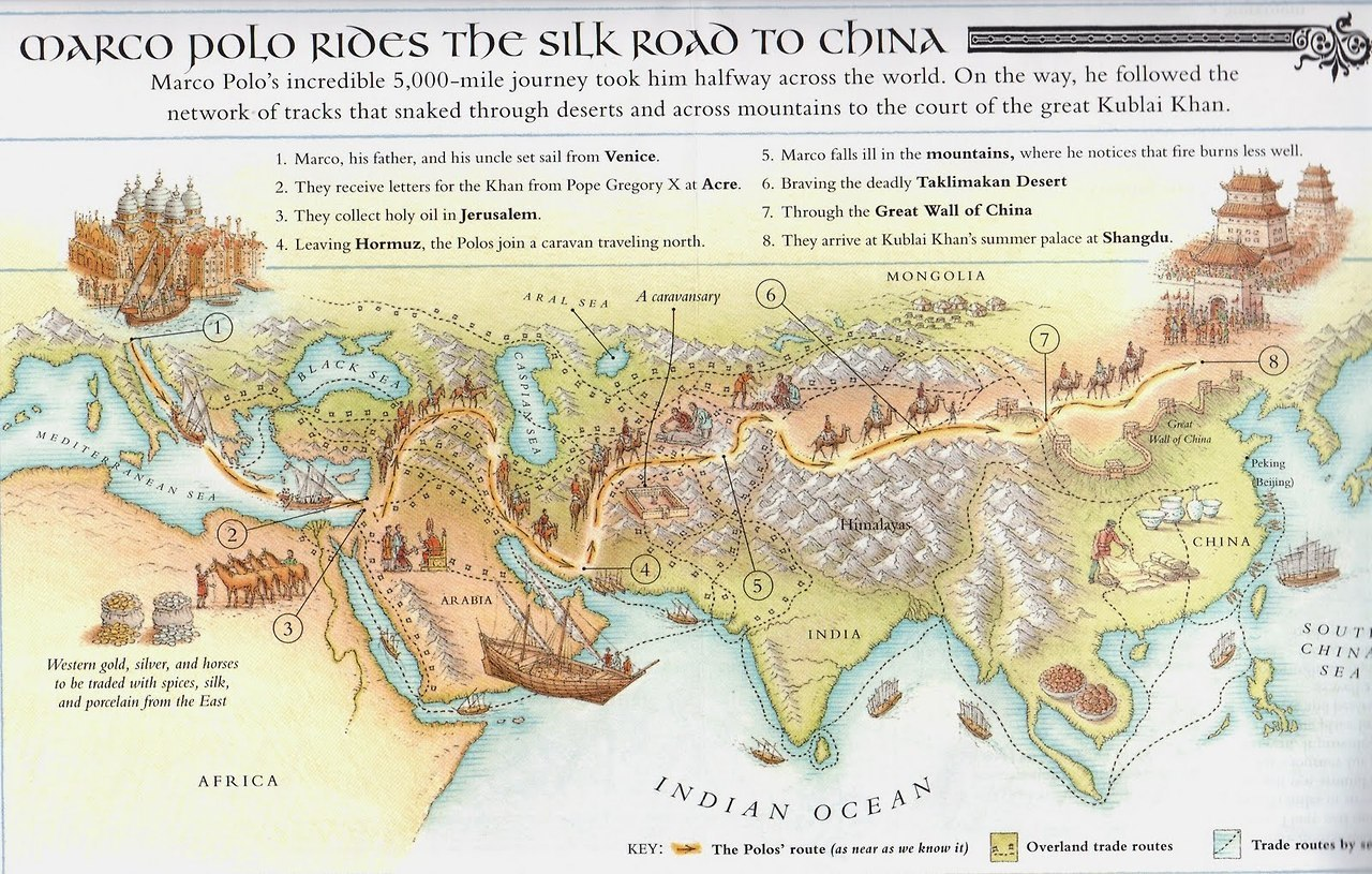 mapsontheweb:Marco Polo Rides the Silk Road to China. – History